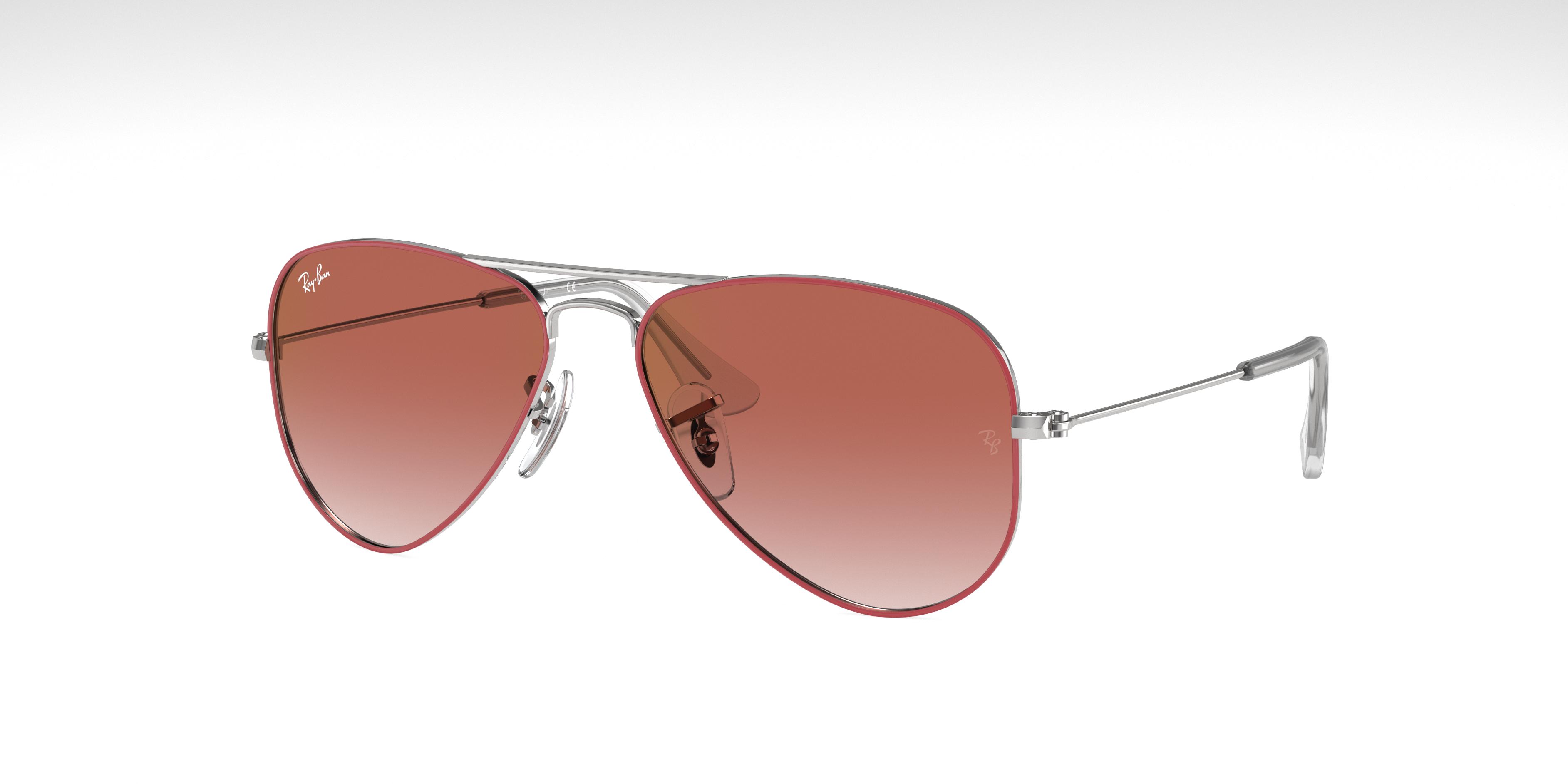Ray-Ban Aviator Junior Silver, Red Lenses - RJ9506S