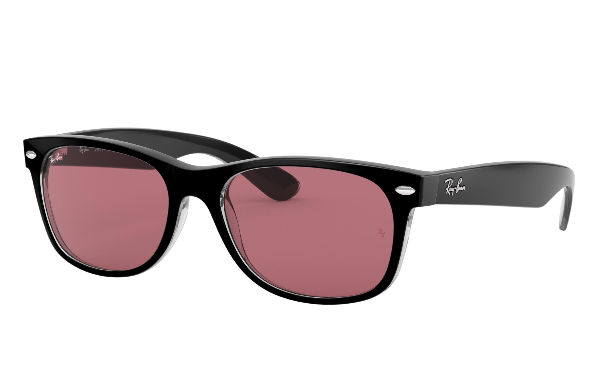 Ray-Ban New Wayfarer Classic Black, Violet Lenses - RB2132