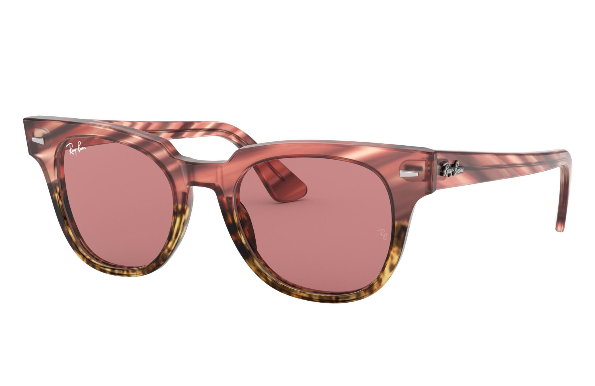 Ray-Ban Meteor Striped Havana Pink, Violet Lenses - RB2168