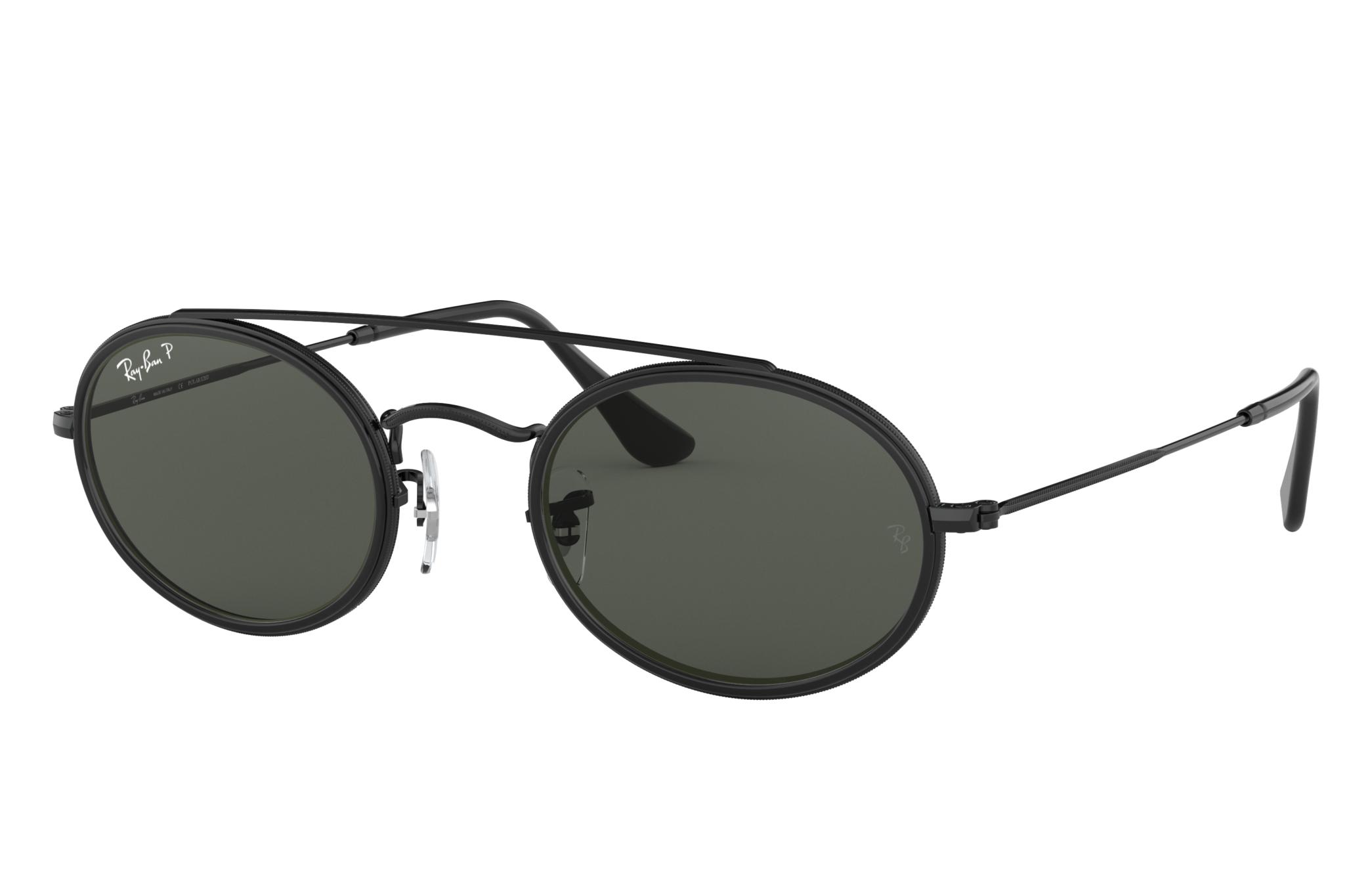 Ray-Ban Oval Double Bridge Black, Polarized Green Lenses - RB3847N