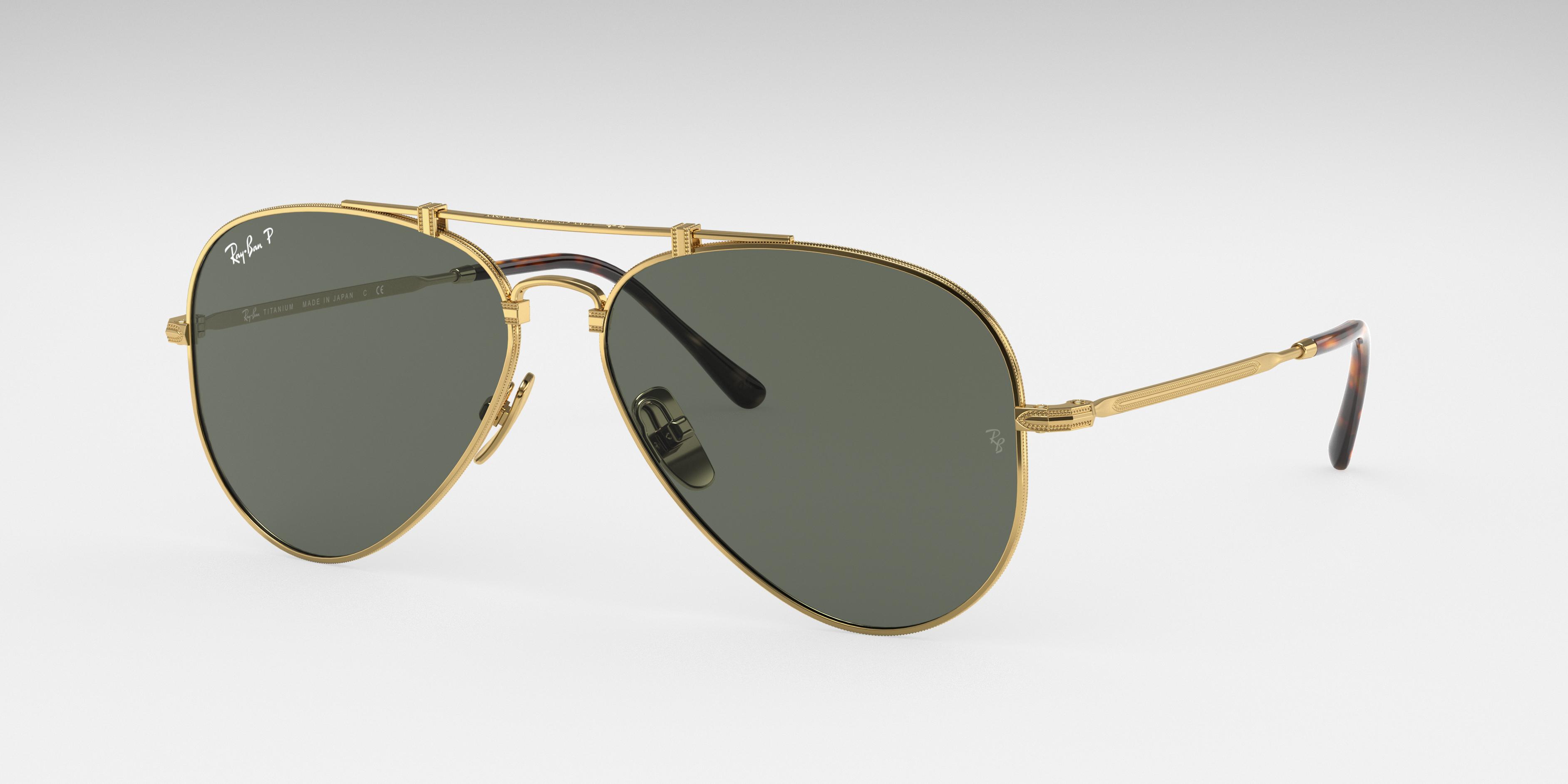 Ray-Ban Aviator Titanium Gold, Polarized Green Lenses - RB8125M