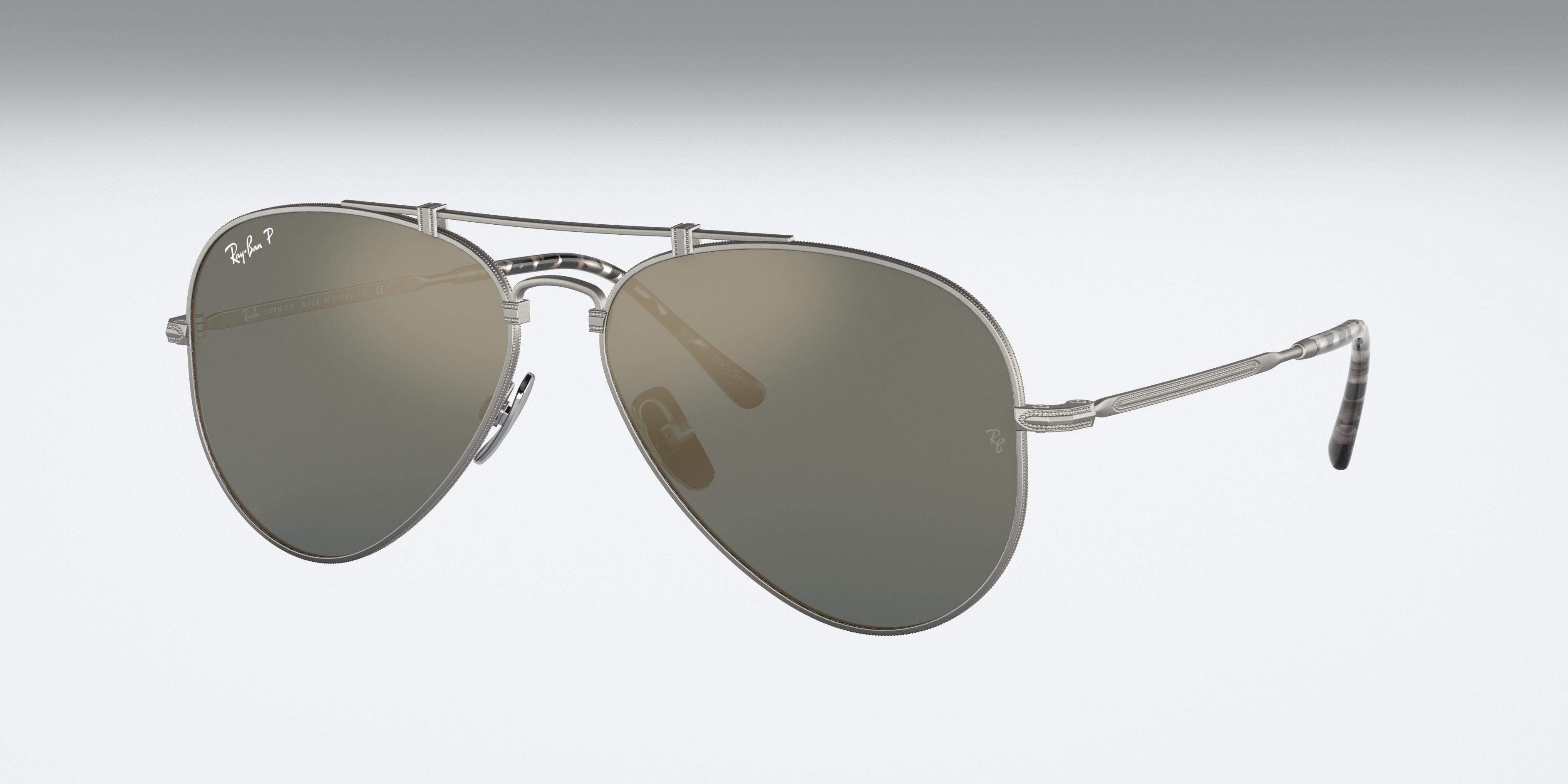 Ray-Ban Aviator Titanium Silver, Polarized Blue Lenses - RB8125M