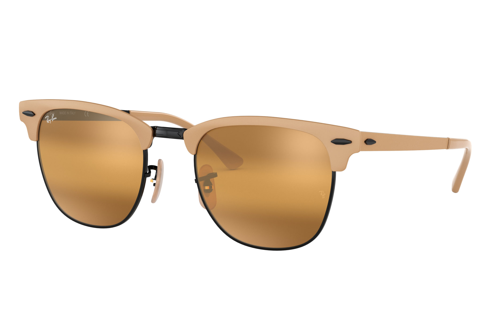Ray-Ban Clubmaster Metal Light Brown, Yellow Lenses - RB3716