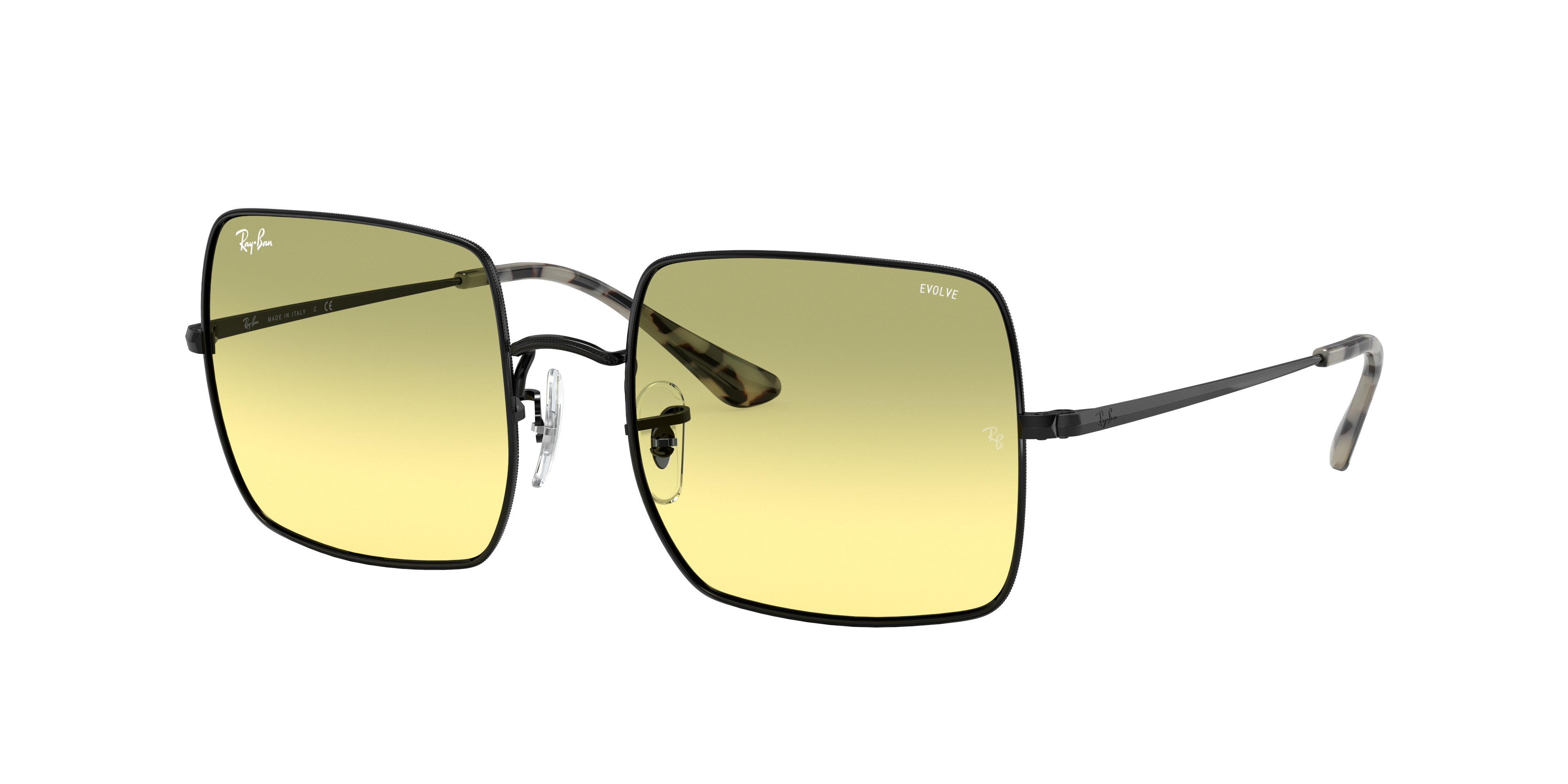 Ray-Ban Square 1971 Washed Evolve Black, Yellow Lenses - RB1971
