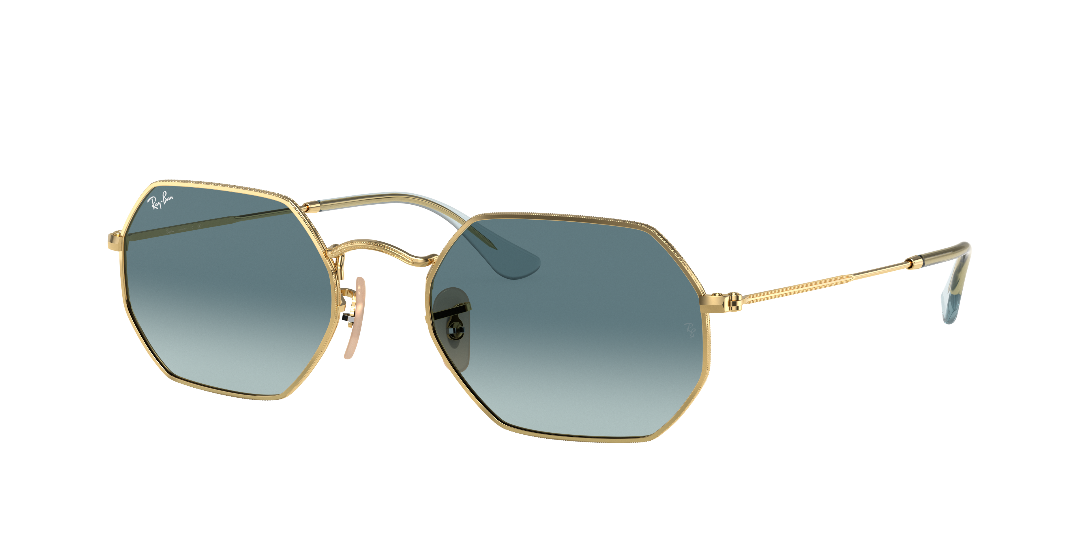 Ray-Ban Octagonal Classic Gold, Blue Lenses - RB3556N