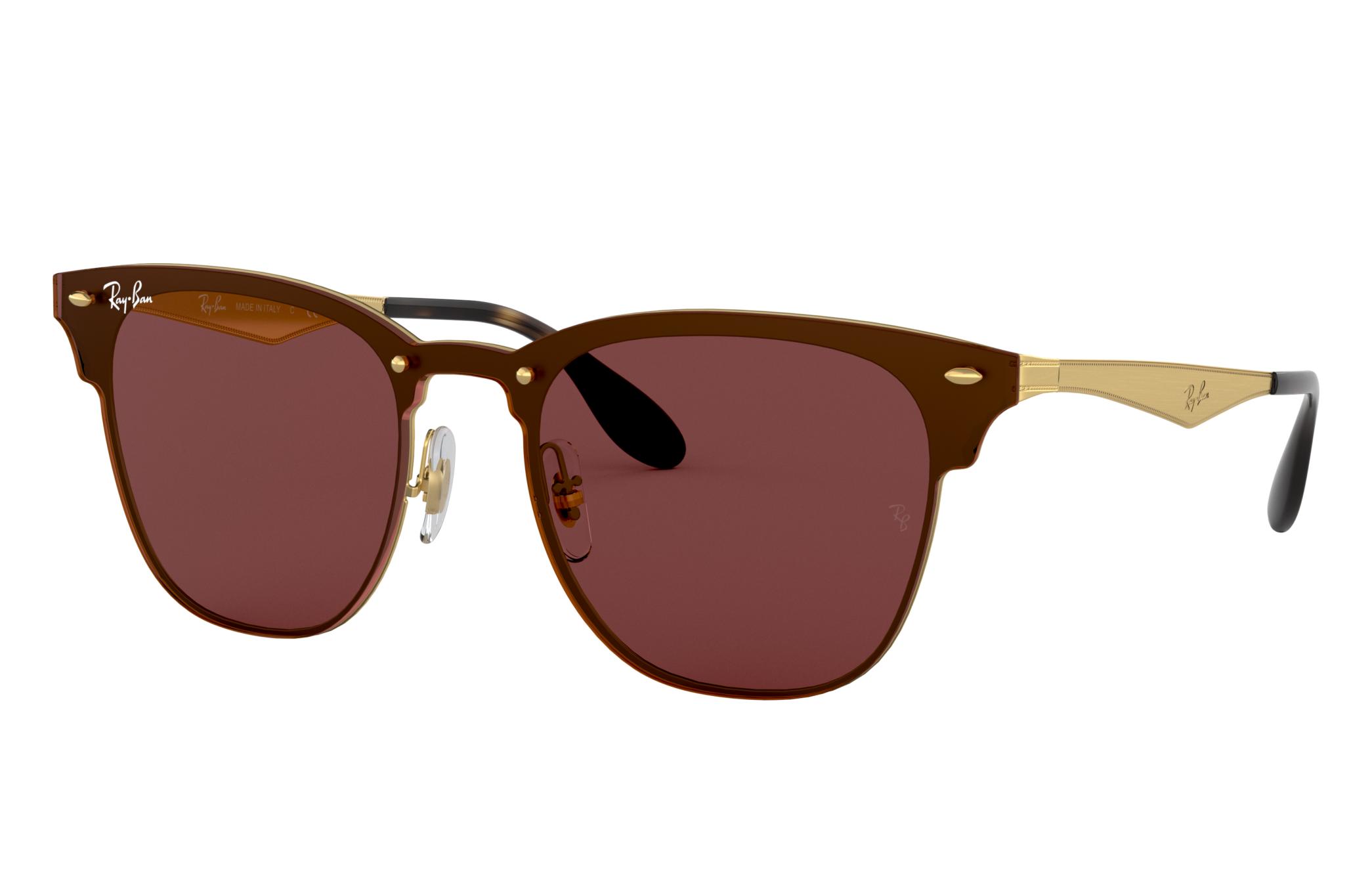 Ray-Ban Blaze Clubmaster Gold, Violet Lenses - RB3576N