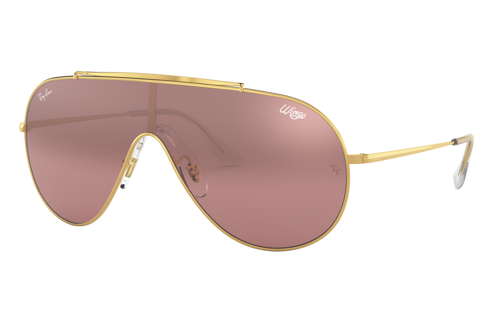 Ray-Ban Wings Gold, Pink Lenses - RB3597