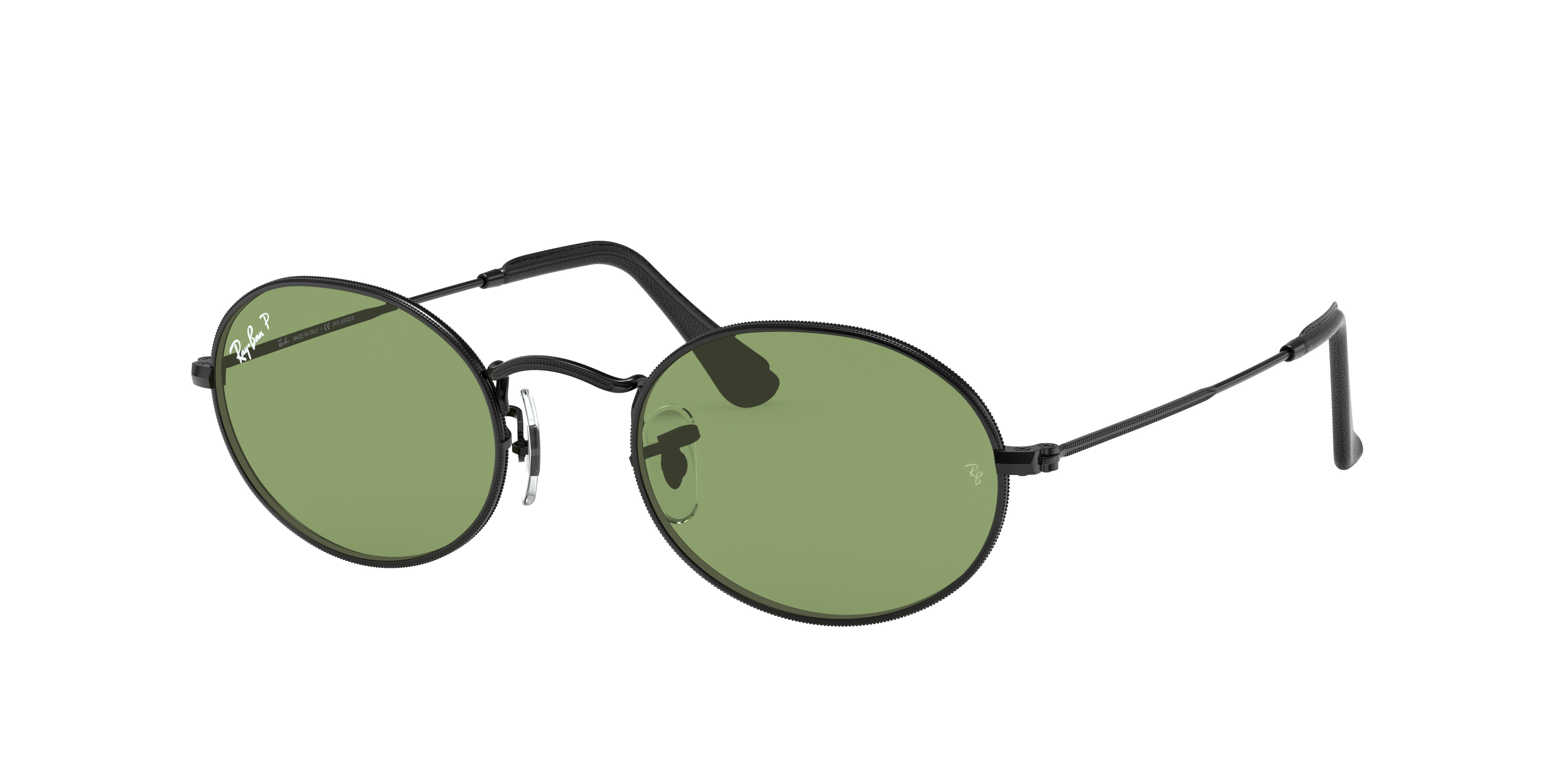 Ray-Ban Oval @collection Black, Polarized Green Lenses - RB3547