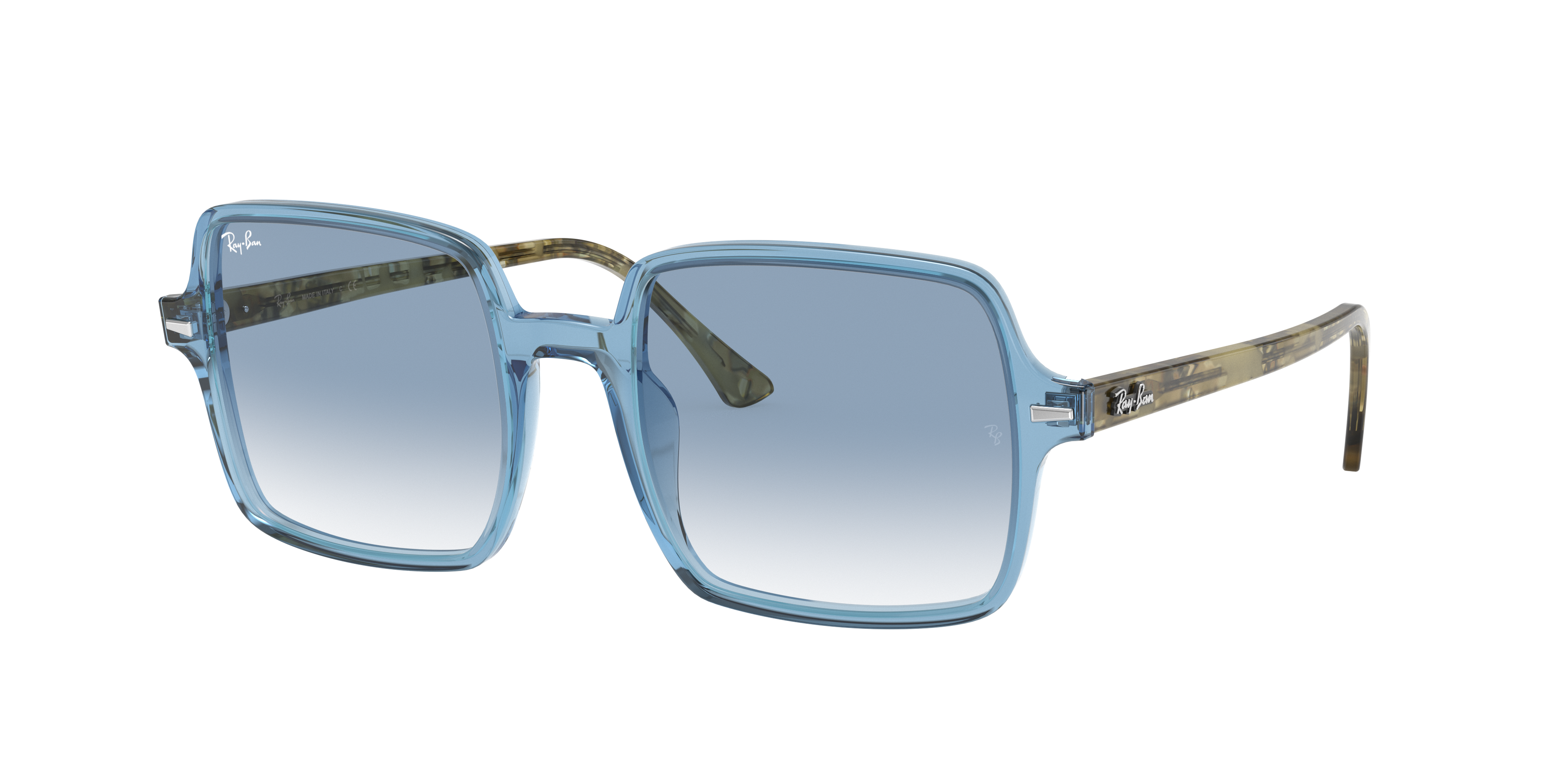 Ray-Ban Square II Green Havana, Blue Lenses - RB1973