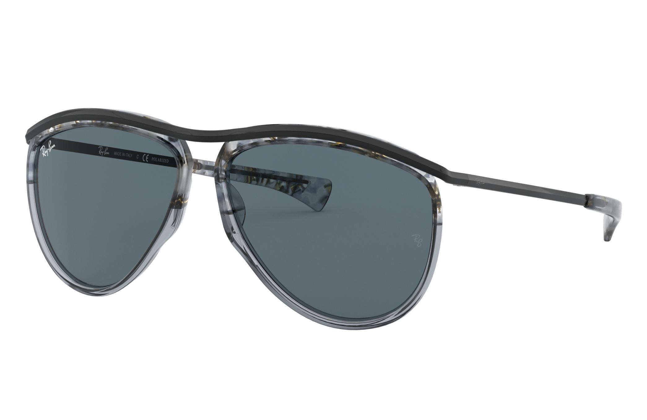 Ray-Ban Aviator Olympian Black, Blue Lenses - RB2219