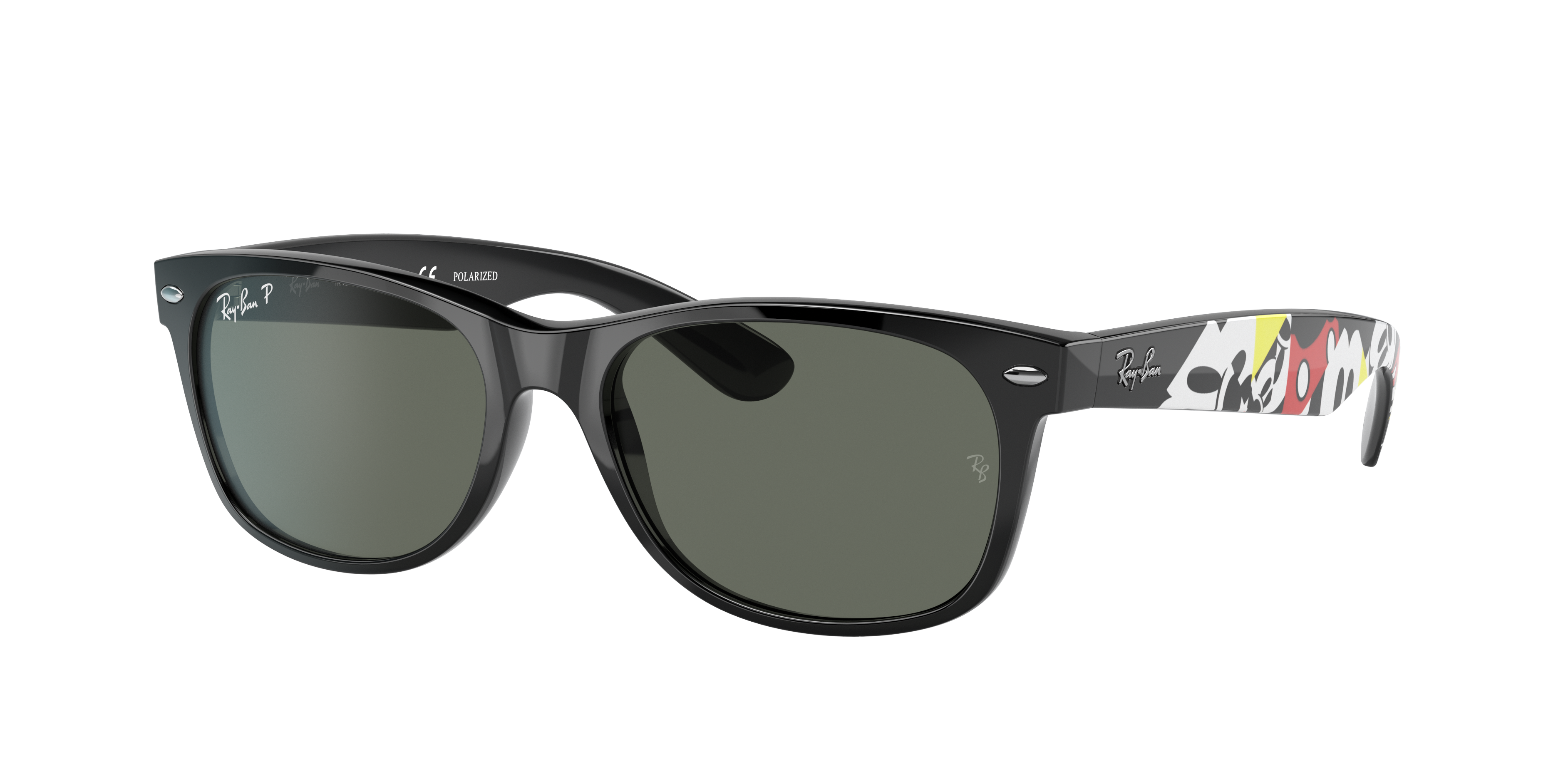 Ray-Ban Rb2132 Mickey J19 Mickey Mouse Texture, Polarized Green Lenses - RB2132