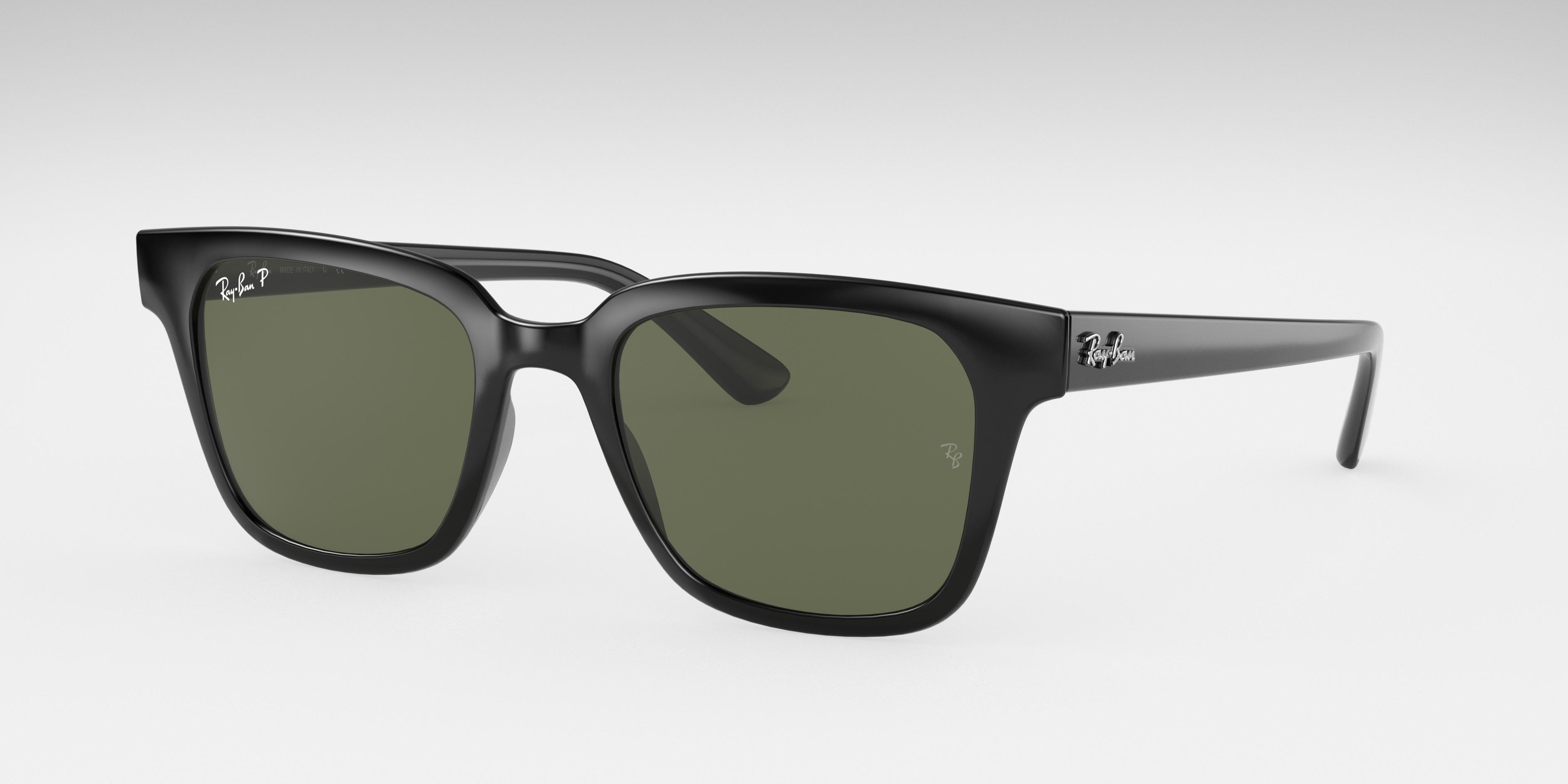 Ray-Ban Rb4323 Low Bridge Fit Black, Polarized Green Lenses - RB4323F