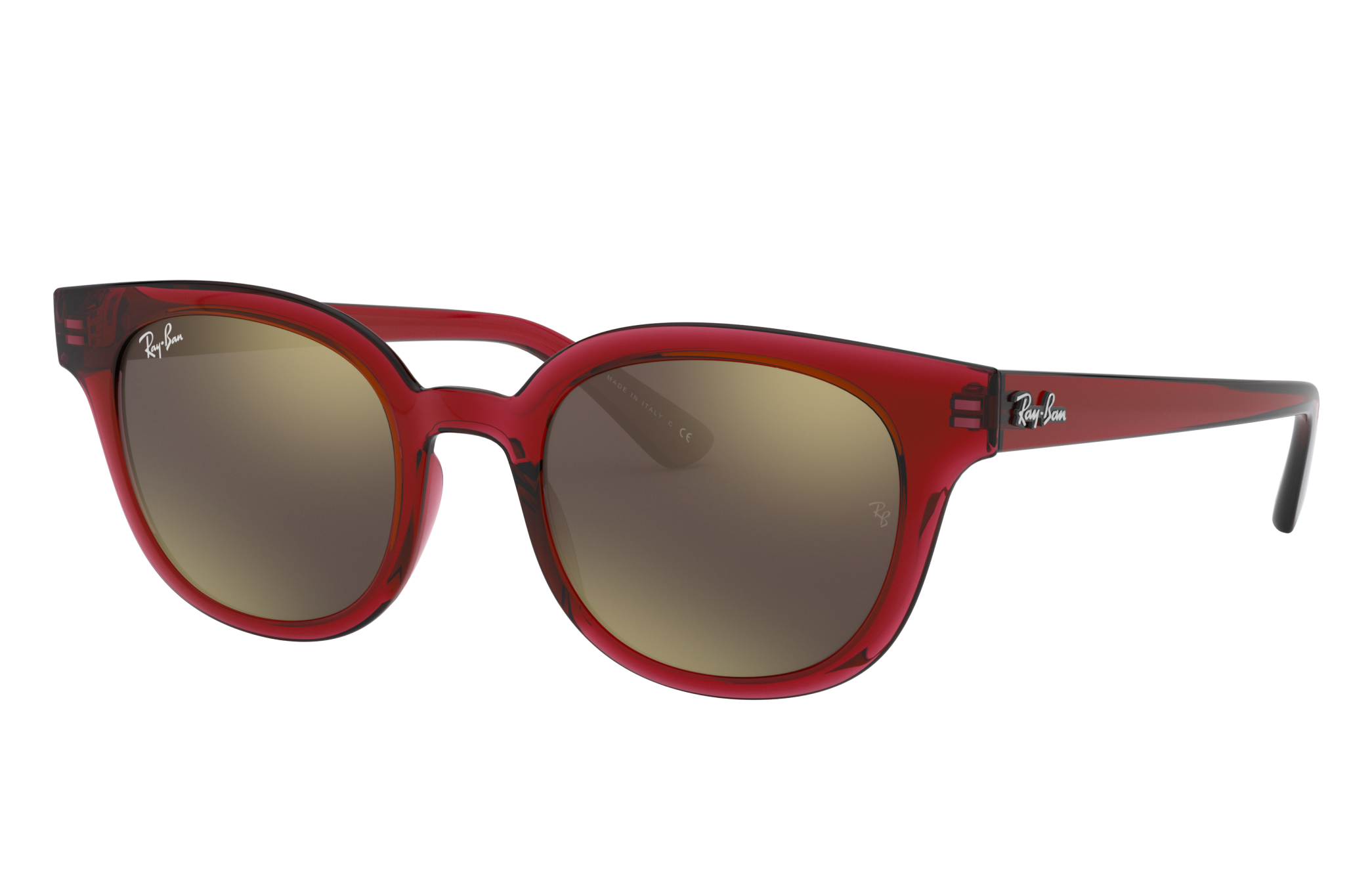 Ray-Ban Rb4324 Low Bridge Fit Transparent Red, Brown Lenses - RB4324F