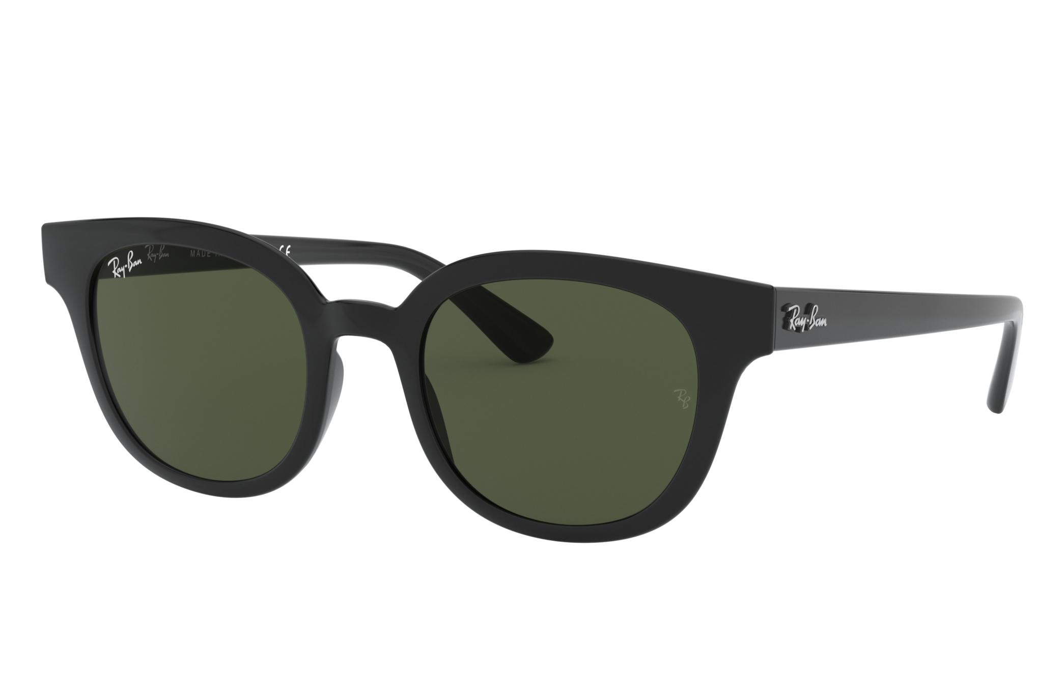 Ray-Ban Rb4324 Low Bridge Fit Black, Green Lenses - RB4324F