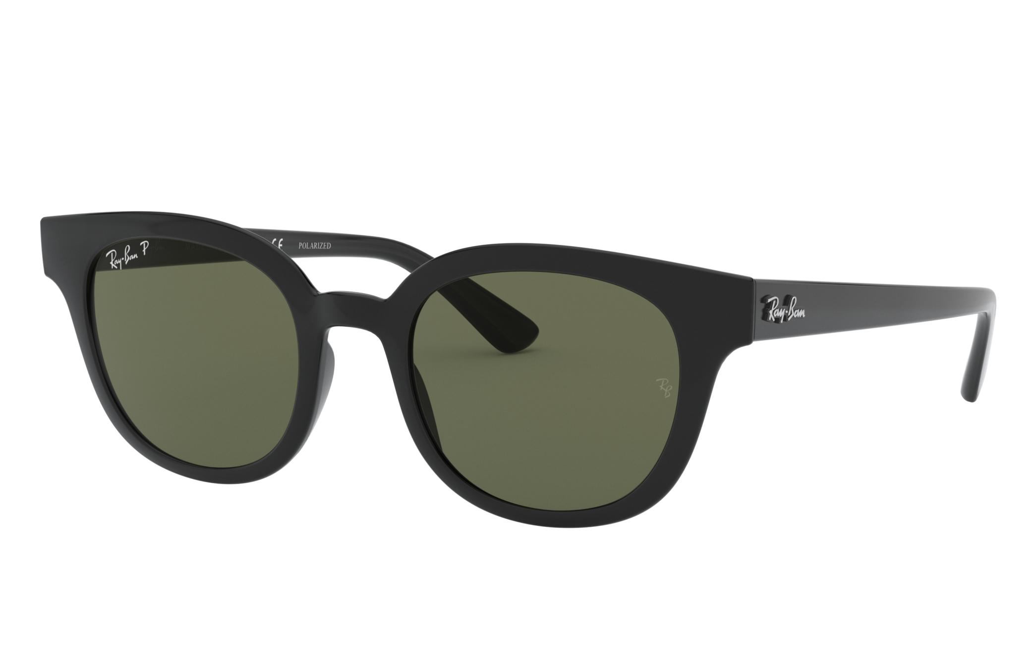 Ray-Ban Rb4324 Low Bridge Fit Black, Polarized Green Lenses - RB4324F