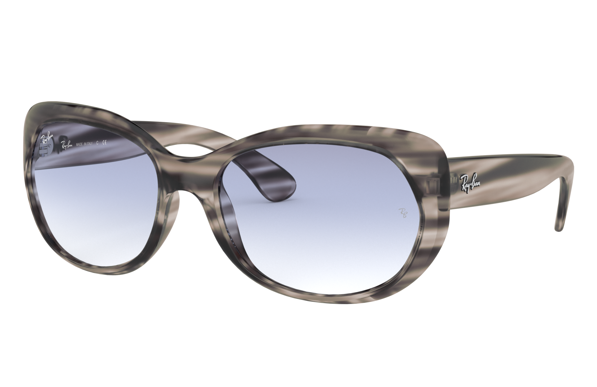Ray-Ban Rb4325 Striped Grey, Blue Lenses - RB4325