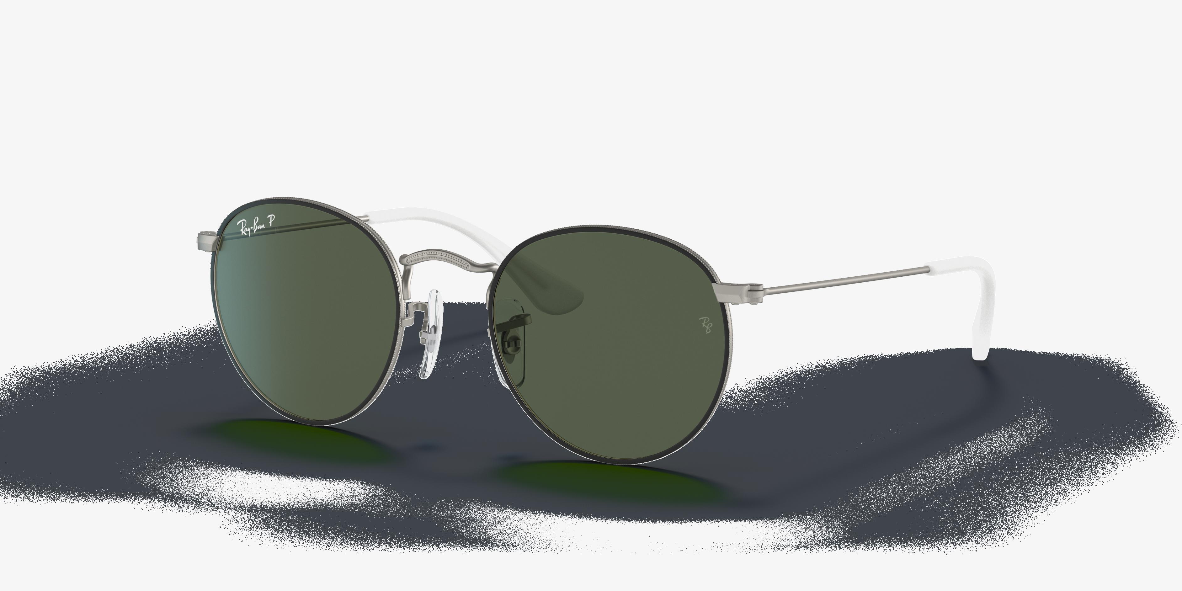 Ray-Ban Round Metal Junior Silver, Green Lenses - RJ9547S