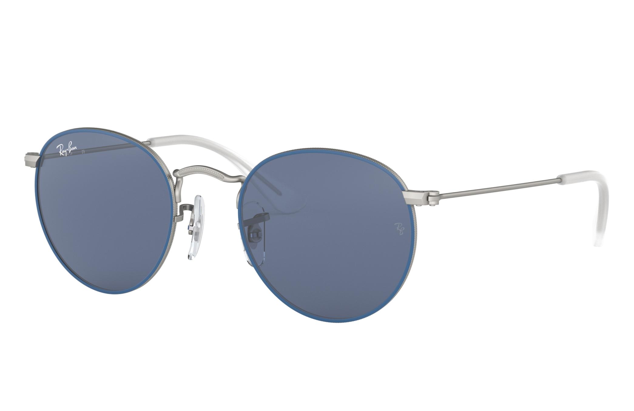 Ray-Ban Round Metal Junior Silver, Blue Lenses - RJ9547S