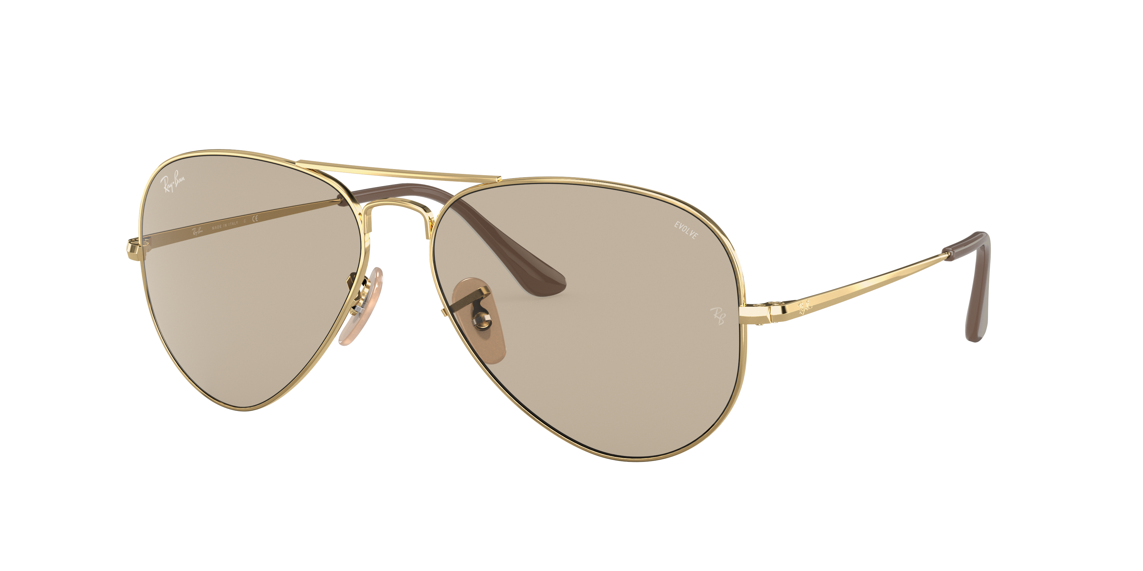 Ray-Ban Rb3689 Solid Evolve Gold, Brown Lenses - RB3689