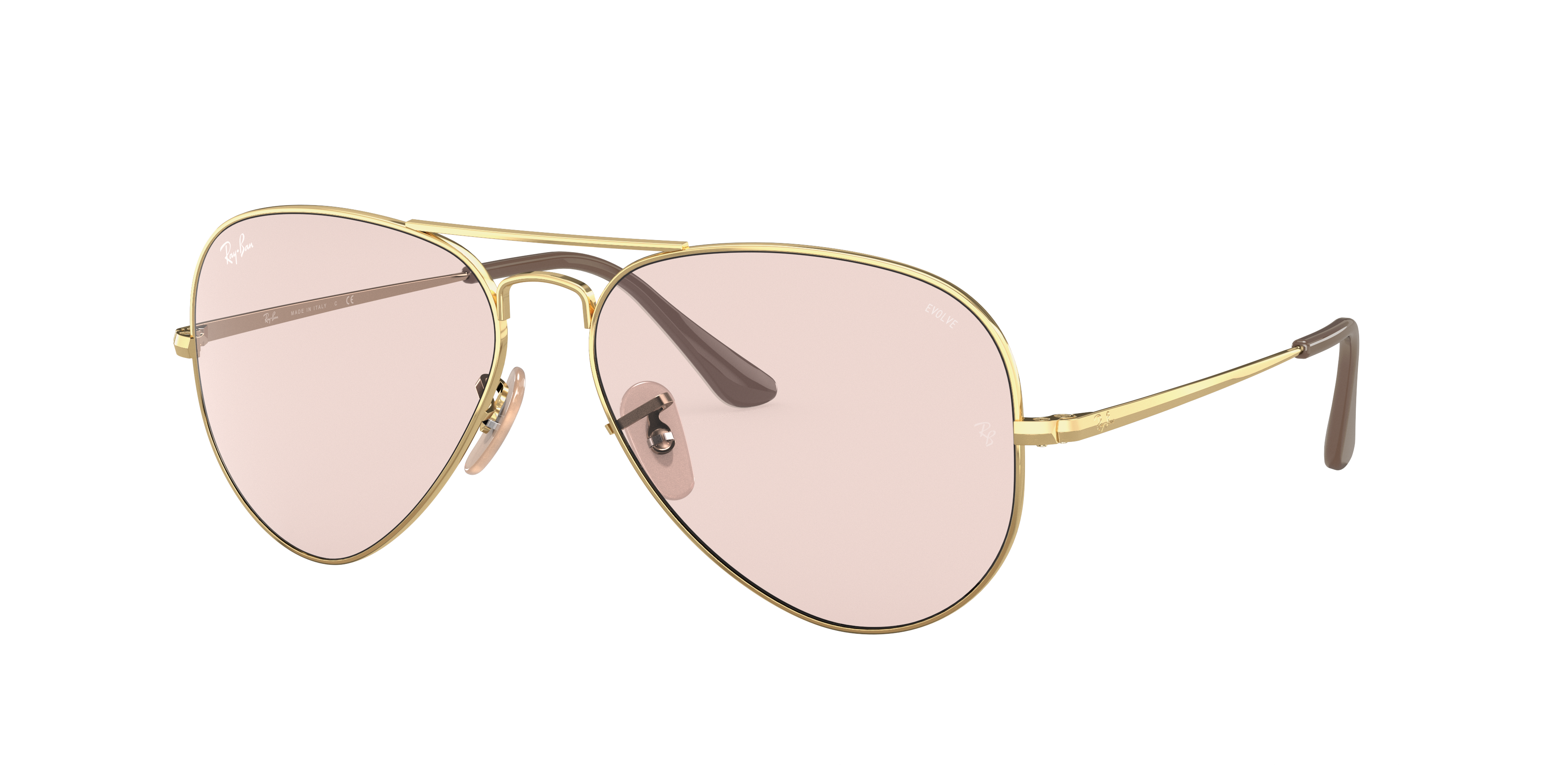 Ray-Ban Rb3689 Solid Evolve Gold, Pink Lenses - RB3689