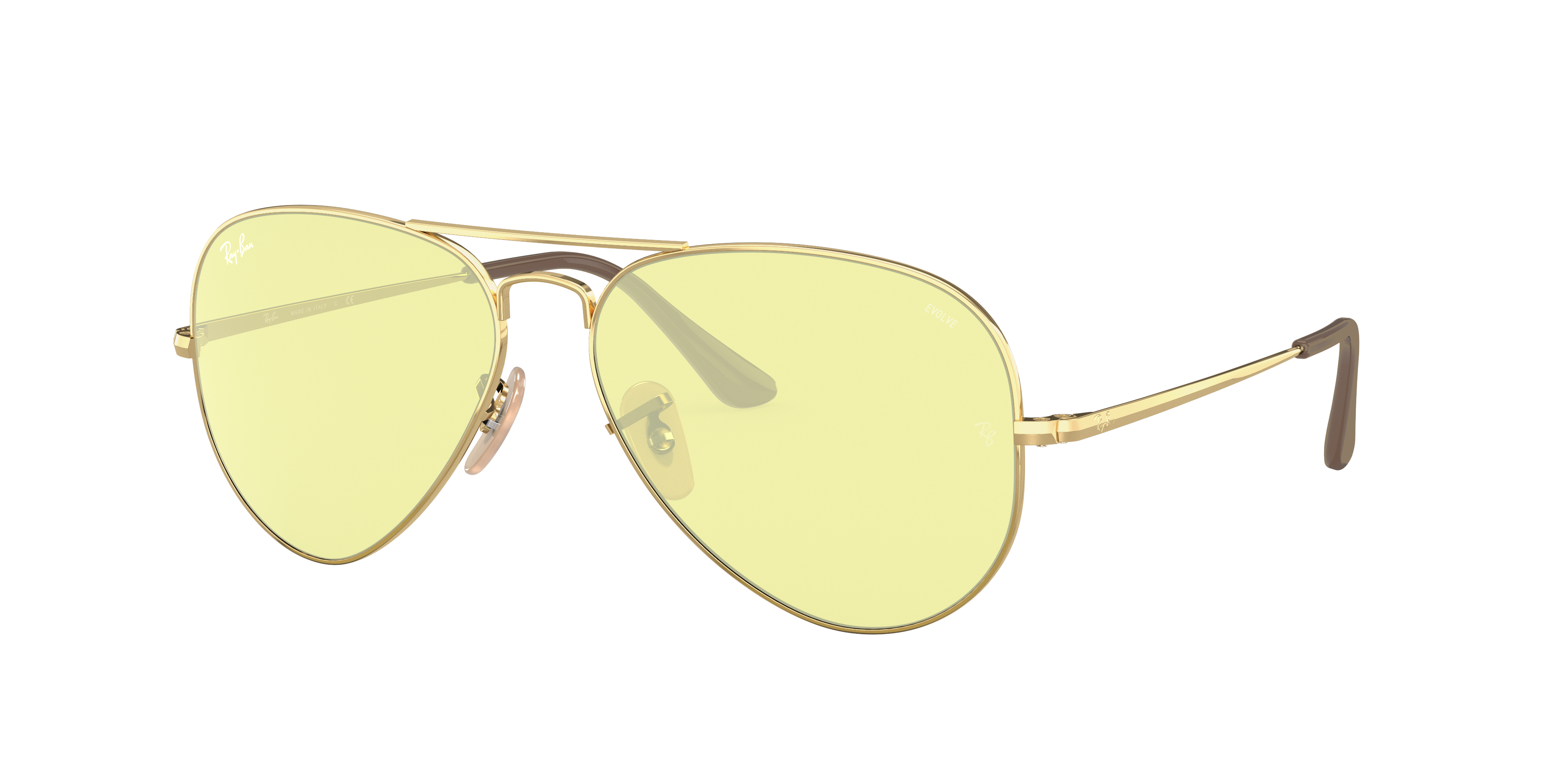 Ray-Ban Rb3689 Solid Evolve Gold, Yellow Lenses - RB3689