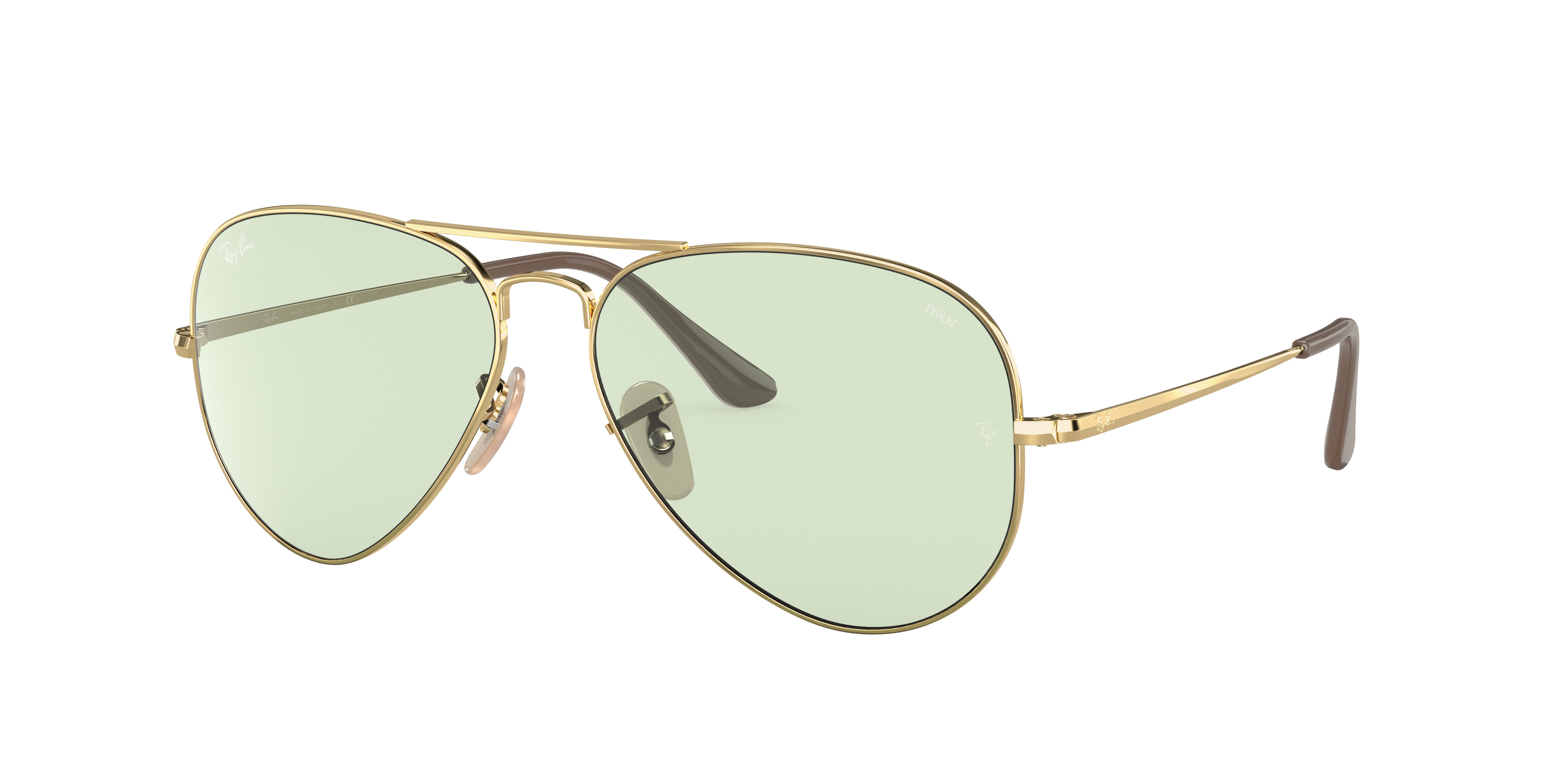 Ray-Ban Rb3689 Solid Evolve Gold, Green Lenses - RB3689