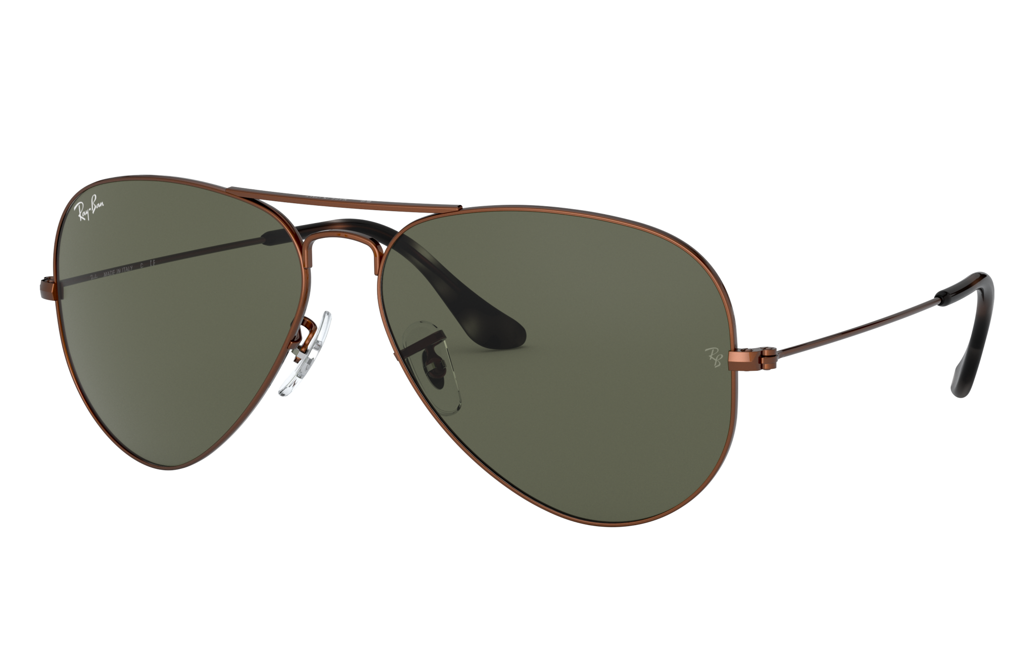 Ray-Ban Aviator Classic Brown Metal, Green Lenses - RB3025