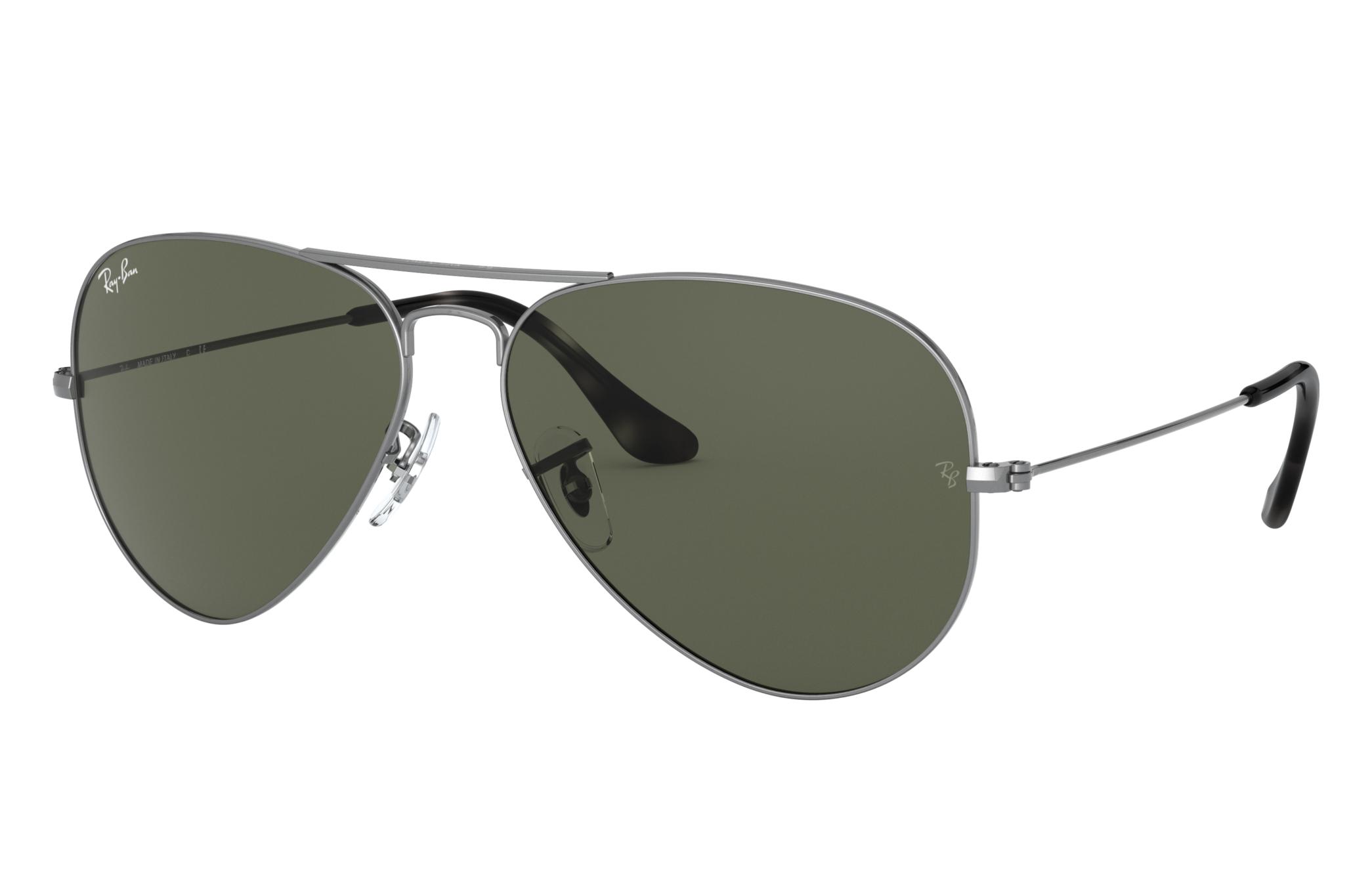 Ray-Ban Aviator Classic Grey Metal, Green Lenses - RB3025