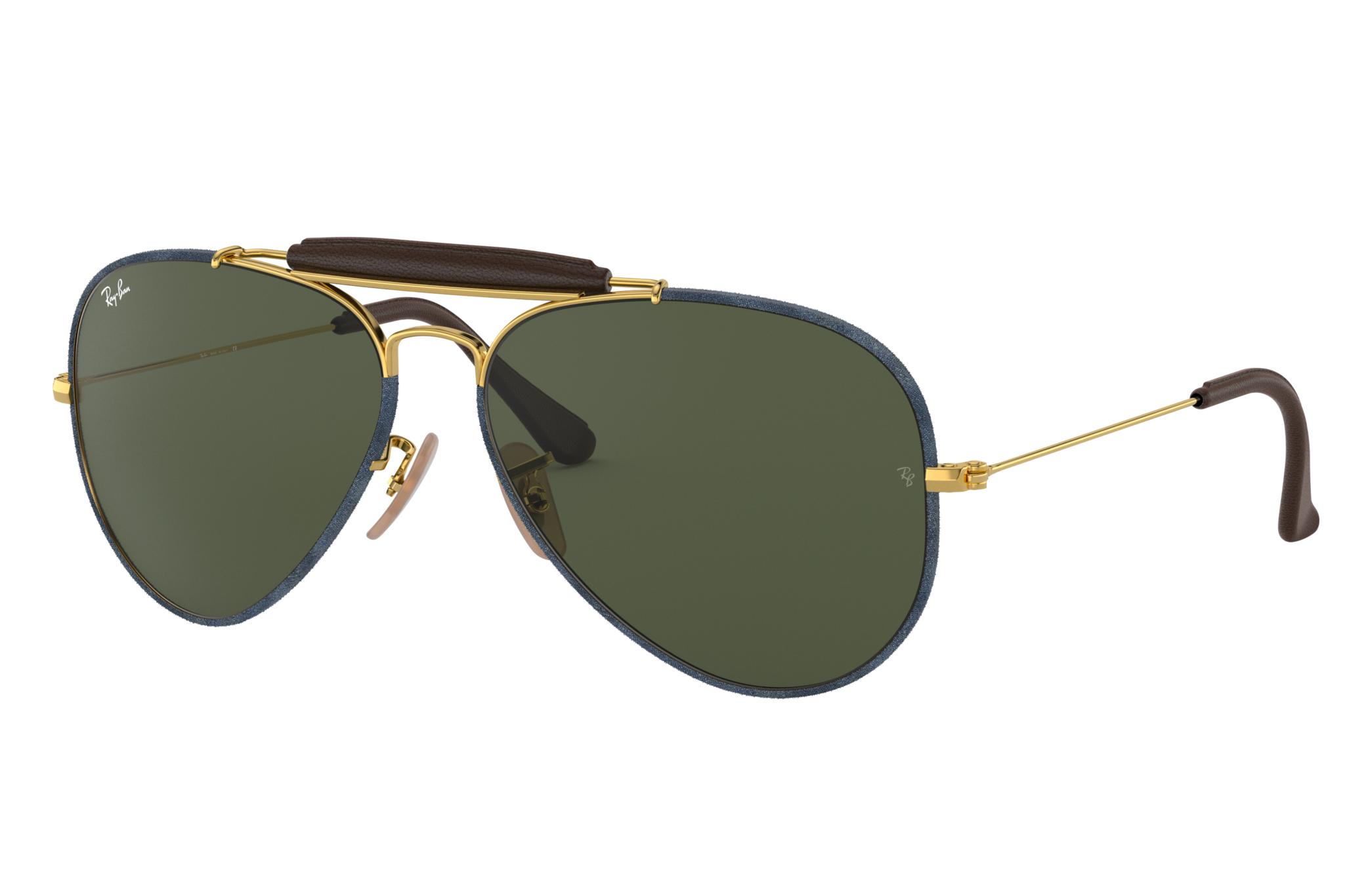 Ray-Ban Outdoorsman Craft Gold, Green Lenses - RB3422Q