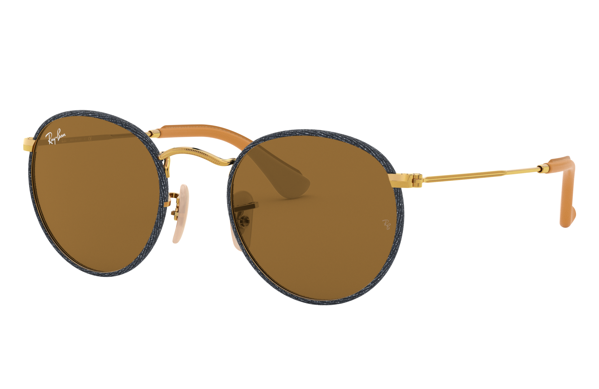 Ray-Ban Round Craft Gold, Brown Lenses - RB3475Q