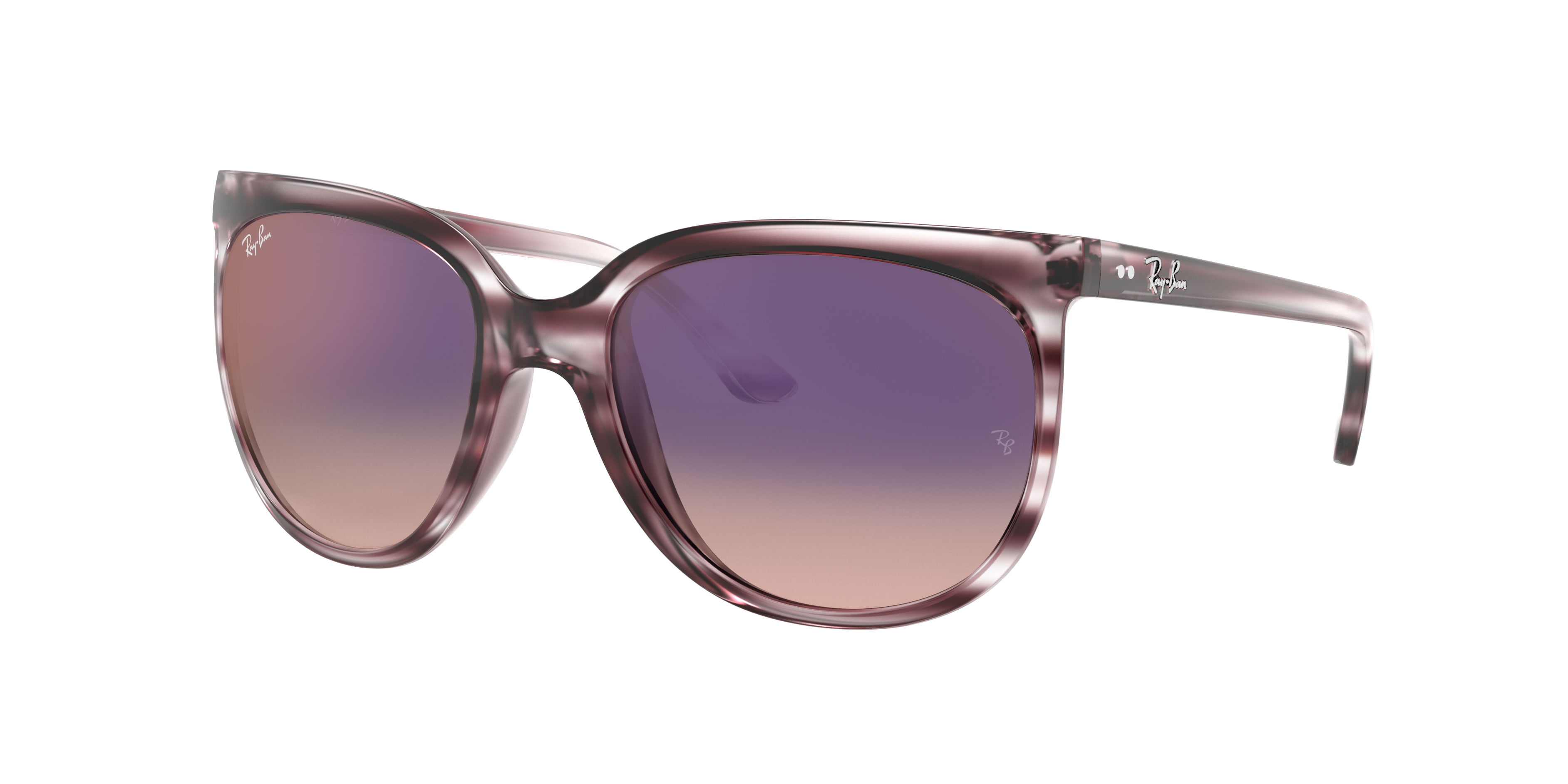 Ray-Ban Cats 1000 Striped Grey Gradient Brown, Violet Lenses - RB4126