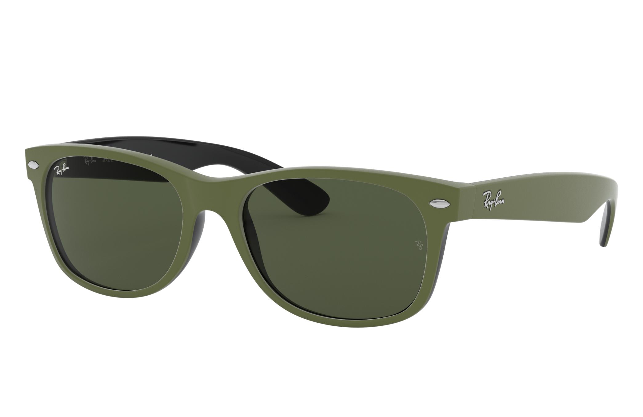 Ray-Ban New Wayfarer Color Mix Green, Green Lenses - RB2132