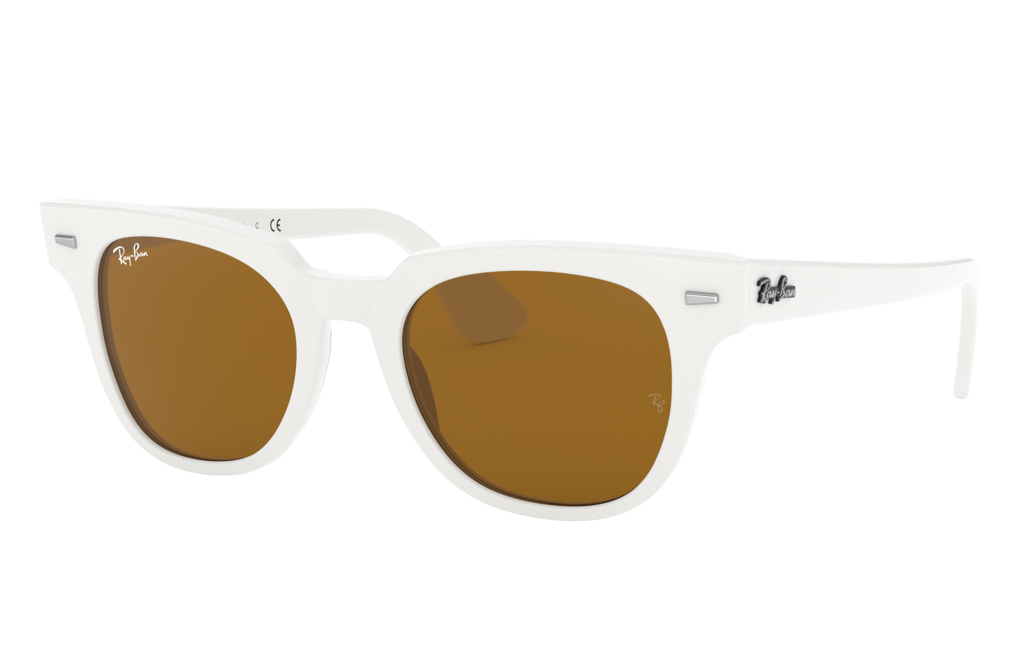 Ray-Ban Meteor Classic White, Brown Lenses - RB2168