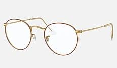 Ray-Ban RX3447V 3106 50-21 ROUND METAL レジェンドゴールドの赤 新作メガネ